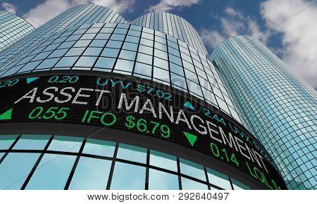 Asset Management Financial Advisor Wealth Strategy Stock Market Ticker 3d Illustration