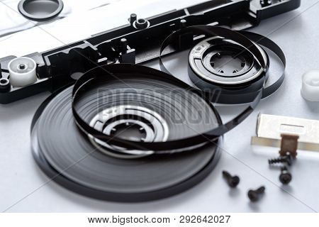 Disassembled Audio Cassette Inside Closeup, Tape Reels.
