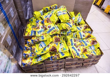 Samara, Russia - March 31, 2019: Packets Cacoa Nesquik Ready For Sale In Chain Retail Discounter Sve