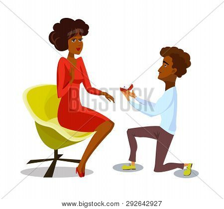 Marriage Proposal Isolated Vector Postcard, Poster. Man Standing On Knee, Proposing To Woman. Dark S