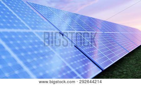 3d Illustration Solar Power Generation Technology. Alternative Energy. Solar Battery Panel Modules W