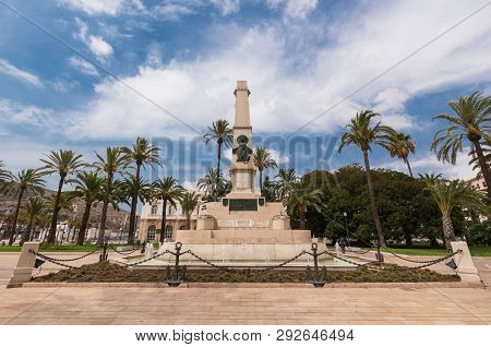 Cartagena cityscape, Old fountain in the historical city downtown of Cartagena, Murcia, Spain. poster