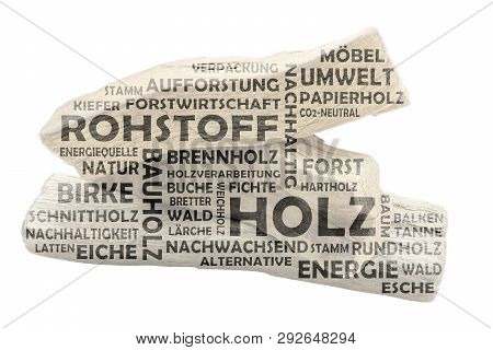 Word Cloud With Bright Wood As Background And Dark Colored Relevant German Keywords On The Subject O