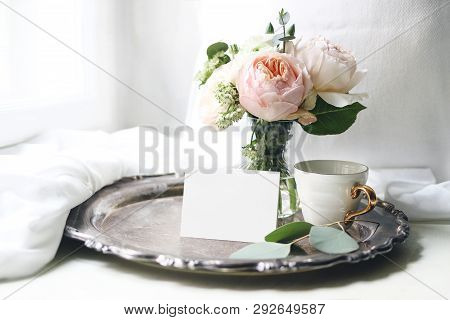 Spring, Summer Still Life. Blank Place Card Mockup, Cup Of Coffee On Old Silver Tray Near Window. Vi