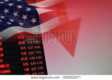 Usa. America Stock Market Crisis Red Price Arrow Down Chart Fall / New York Stock Exchange Analysis