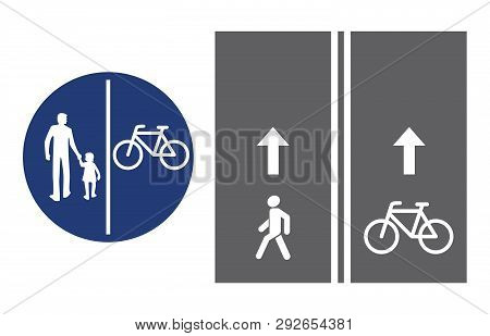 Road Sign, Pedestrian And Bicyclist, Vector Illustration Icon. Circular Blue Traffic Sign. White Ima