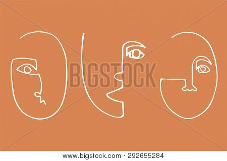 Set of trendy minimalistic faces. Abstract linear silhouette of human faces. Modern avant- garde poster. poster