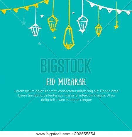 Vector Ramadan Kareem Vector Grunge Concept. Eid Mubarak Cartoon Greeting