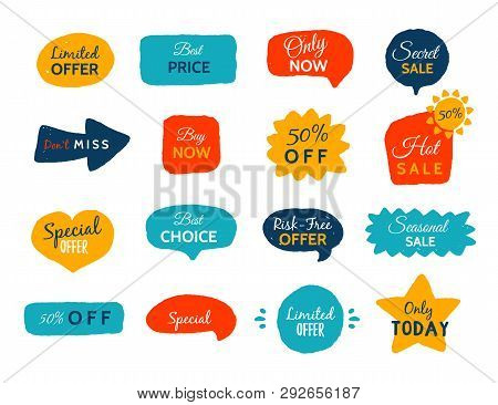 Grunge Sale Badge Collection. Discount Price Offer Set With Place For Text. Promo Coupon Labels