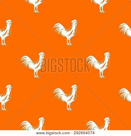 Gallic Rooster Pattern Repeat Seamless In Orange Color For Any Design. Geometric Illustration
