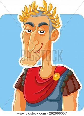 Julius Caesar Roman Emperor  Vector Caricature Illustration