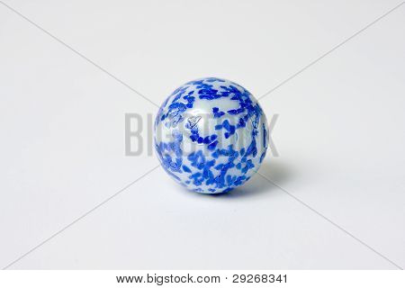 Blue And White Speckled glass Marble white background