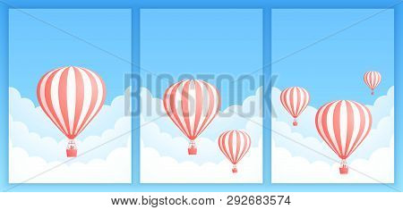 Hot Air Balloon Cloud Scape Vector Illustration. Collection Of Carnival Design Or Romantic Adventure