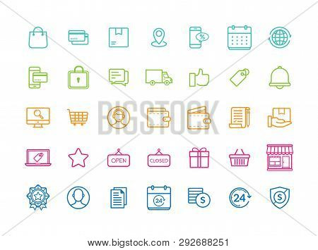 Set Of 35 Minimal Modern Thin Icons For Online Shopping And E-commerce. E-commerce And Shopping Vect