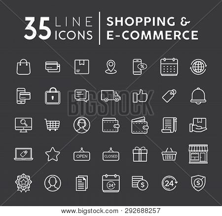 E-commerce Line Icons Set. E-commerce And Shopping Vector Icons Set On Black Background. Outline Web