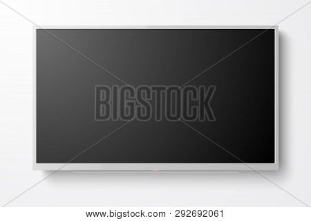 Vector 3d Realistic White Blank Tv Screen. Modern Lcd Led Panel Set Closeup Isolated On White Backgr