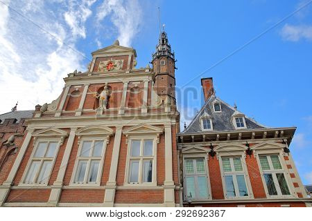 The Ornate And Colorful Architecture Of The Town Hall (stadhuis) In Haarlem, Netherlands