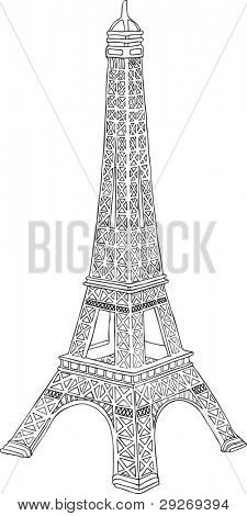 Hand drawn illustration of Eiffel tower in Paris, France