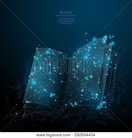 Opened Book. Abstract Wireframe Vector Illustration On Dark Blue. Learning And Study Concept. Low Po