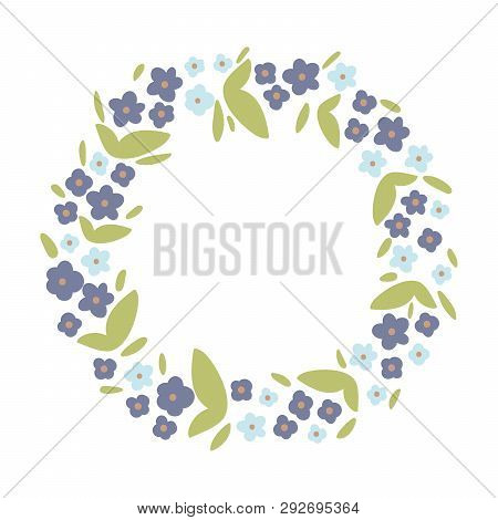 Round Violet, Green And Blue Spring Floral Borders Vector Wreath