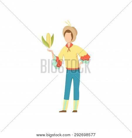 Young Man In Bright Costume And Cowboy Hat With Corncob, Festa Junina Brazil June Festival Vector Il