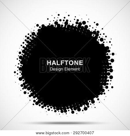 Halftone Circle Frame Abstract Dots Logo Emblem Design Element. Half Tone Circular Icon. Grunge Roun