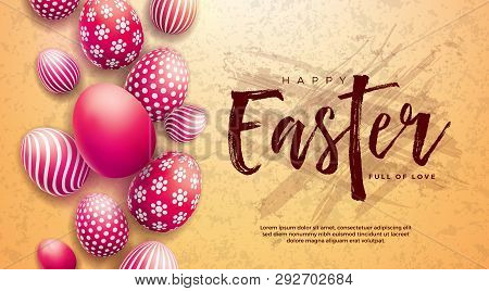 Happy Easter Illustration With Red Painted Egg And Typography Letter On Grunge Background. Internati