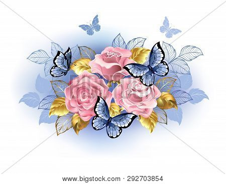 Three Pink Roses With Blue And Gold Leaves, With Blue Butterflies Sitting On Them On White Backgroun