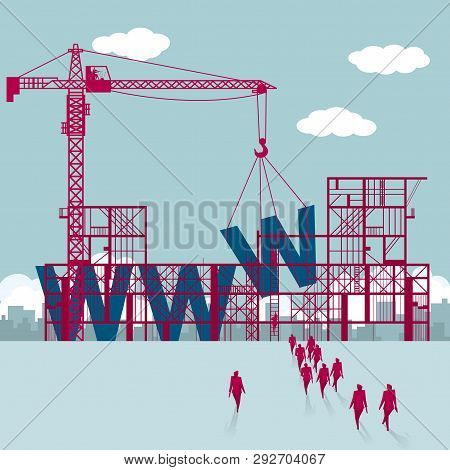 Domain Name Erection, A Group Of Businessmen Walked To The Building Site.
