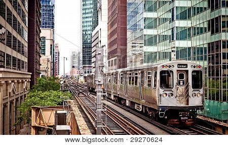 Train moving on the tracks in Chicago