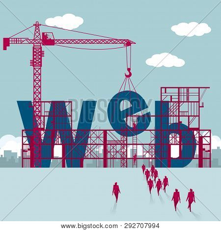 Website Erection, A Group Of Businessmen Walked To The Building Site.