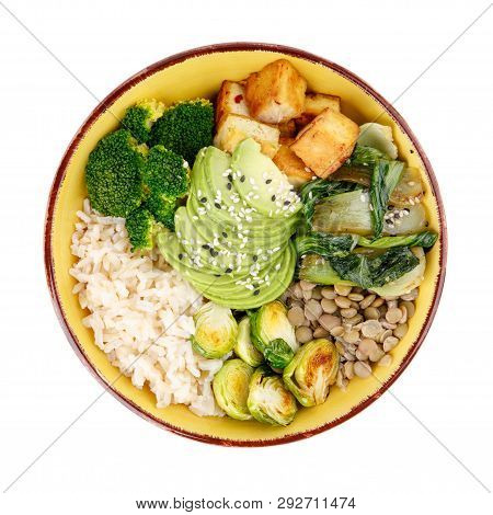Buddha Bowls Isolated On White Background. Colorful Bowls With Vegetables, Healthy Grains, And Prote