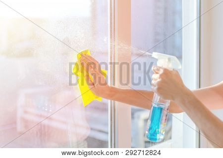 Hands With Napkin Cleaning Window. Washing The Glass On The Windows With Cleaning Spray. Selective S