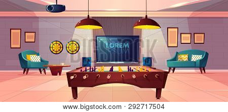 Comfortable Recreation Room For Family Leisure In House Basement Cartoon Vector With Soft Armchair A