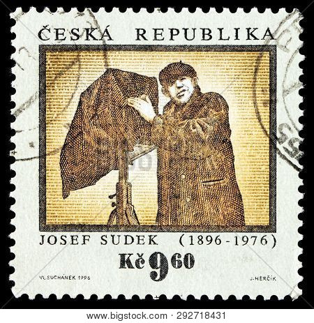 Luga, Russia - February 08, 2018: A Stamp Printed By Czech Republic Shows Portrait Of Czech Photogra