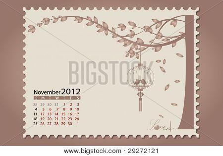 Romantic vintage background 2012 calendar,November. Vector Illustration. Easy editable.