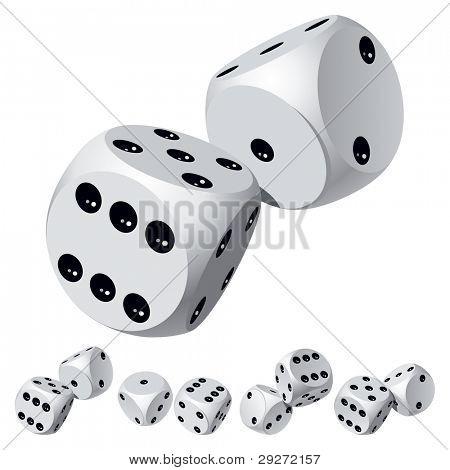 Set of dice rolls. Vector illustration