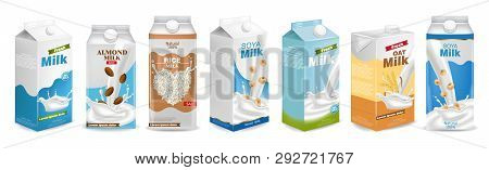 Milk Boxes Set Vector Realistic. Collection Of Regular Milk, Oats, Soy, Rice And Almond Milk. Realis