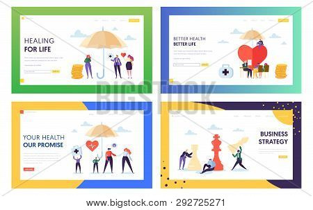 Better Health For Life Landing Page Set. Treatment For Whole Family. Business Strategy Make Strong C