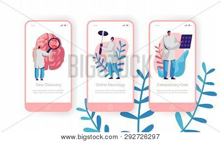 Hospital Neurology Department Mobile App Page Onboard Screen Set. Intensive Caring, Discovery And Ex