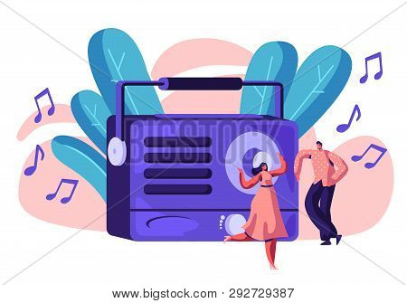 Radio Recorder Playing Music For Happy Person. Woman In Dress And Man Dancing To Loud Music. People