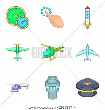 Aerodrome Icons Set. Cartoon Set Of 9 Aerodrome Icons For Web Isolated On White Background