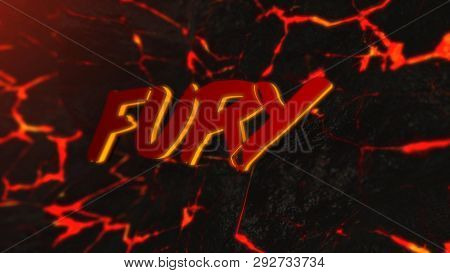 Abstract Background Of Hot Rock With Cracks. Animation. Abstract Background With Fury Inscription On