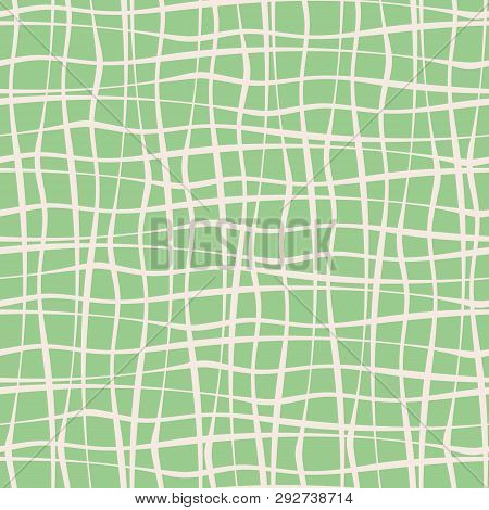 Vertical And Horizontal Hand Drawn Uneven Crossing White Stripes On Mint Green Background. Vector Se