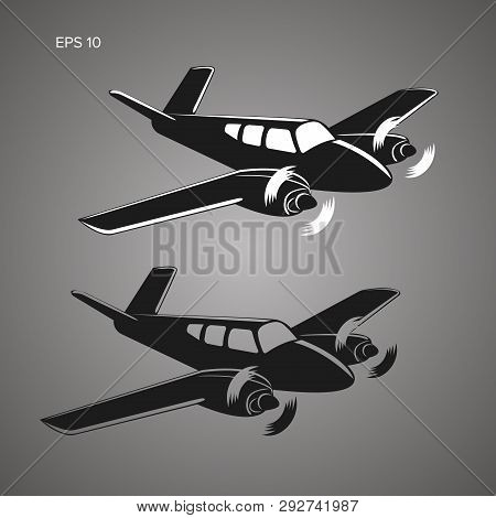Small Plane Vector Illustration. Twin Engine Propelled Aircraft. Business Aircraft.