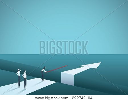 Business Challenge Overcome And Finding Solutions Vector Concept. Woman Building Bridge Over Gap. Sy