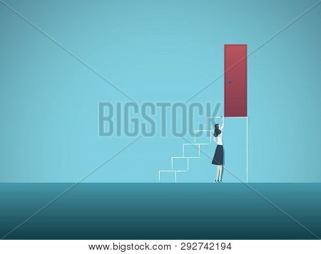 Business Career Challenge And Opportunity Vector Concept With Businesswoman Drawing Steps To Door On