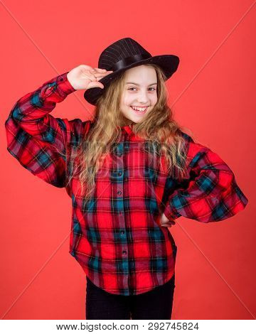 Keep Smiling. Smiling Girl In Fashion Hat Accessory. Small Girl Happy Smiling With Beauty Look. Litt
