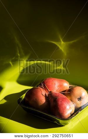 Modern still life with healthy food and plastic pack. Environment protect concept, conscious shopper poster