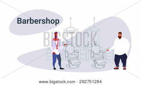 Couple Stylish Thin And Fat Barbers Standing Near Retro Style Haircut Chair Male Hairdressers In Hai